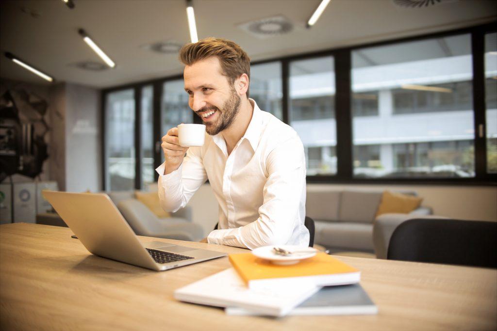 businessman on a webinar