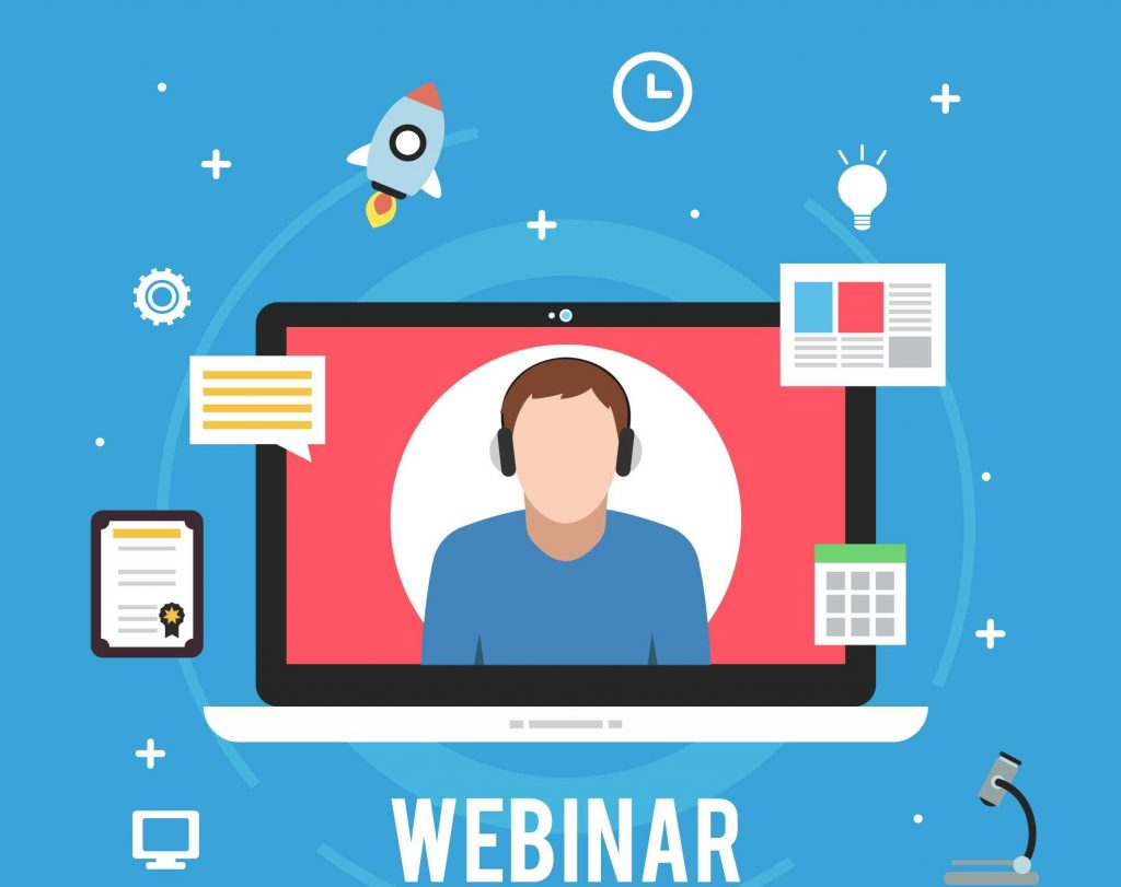 a male host conducting a webinar through the laptop and icons like certificate, calendar, chat message, and a newsletter is floating around the laptop