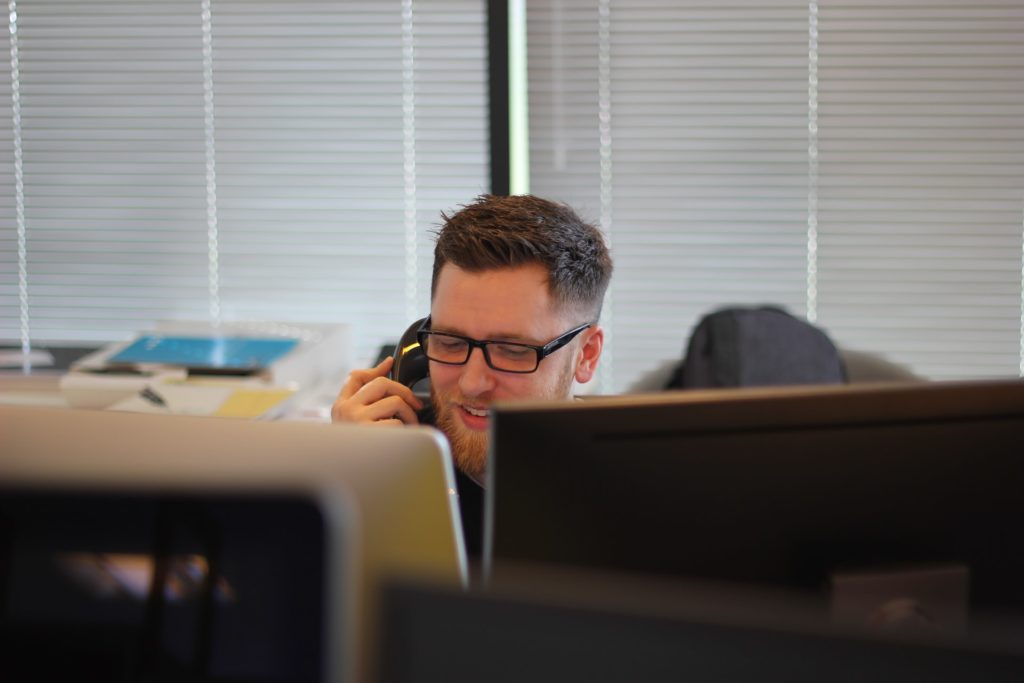 man in a conference call